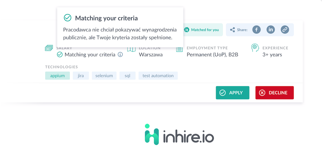 Inhire.io wprowadza algorytm pozwalający na dopasowanie oferty do oczekiwań finansowych kandydata, bez ujawniania widełek płacowych!
